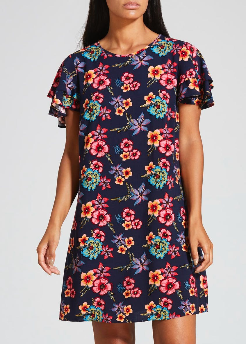 Floral Double Frill Dress - Navy