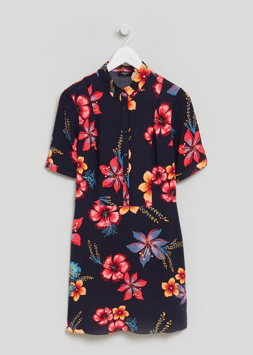 Floral Shirt Dress - Navy