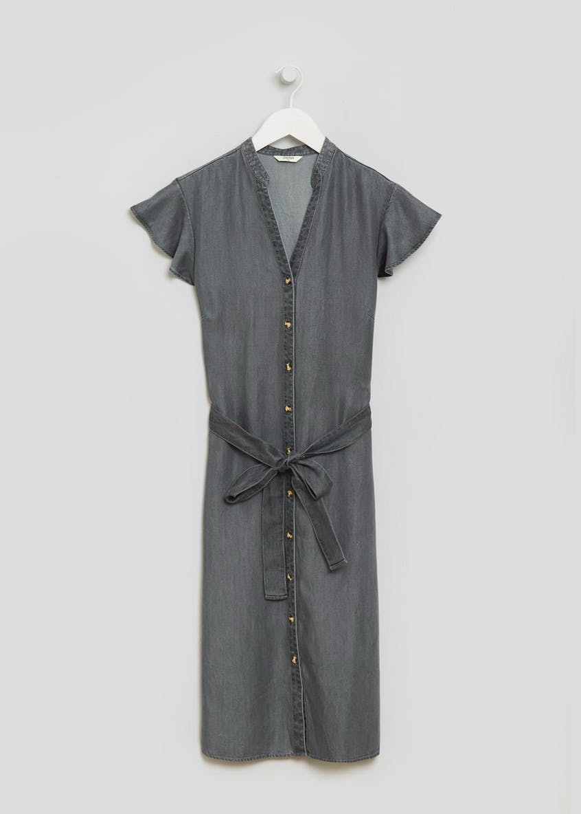 Tencel Ruffle Sleeve Midi Dress - Grey