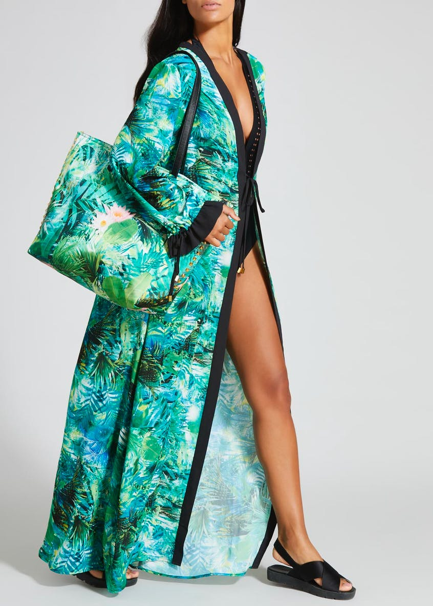Julien Macdonald Leaf Print Beach Bag