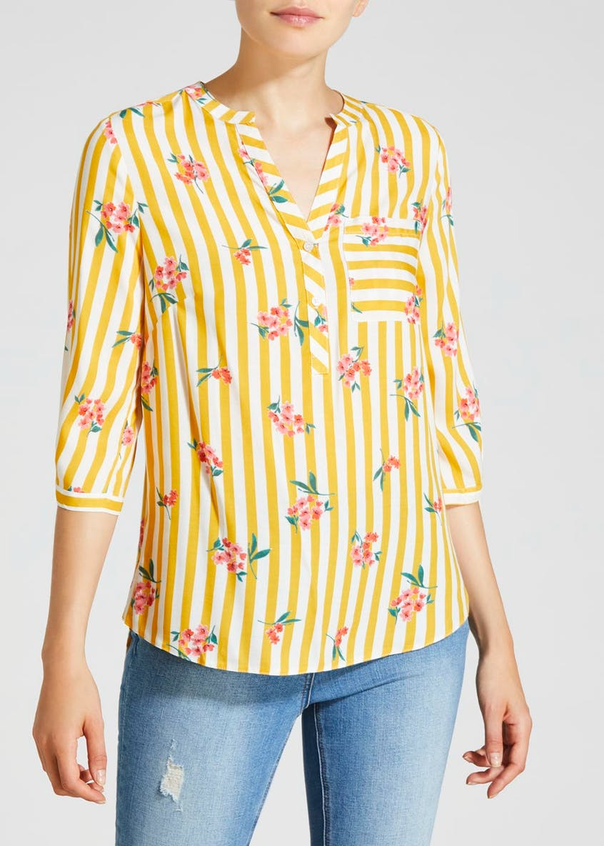 Floral Stripe Grandad Collar Blouse