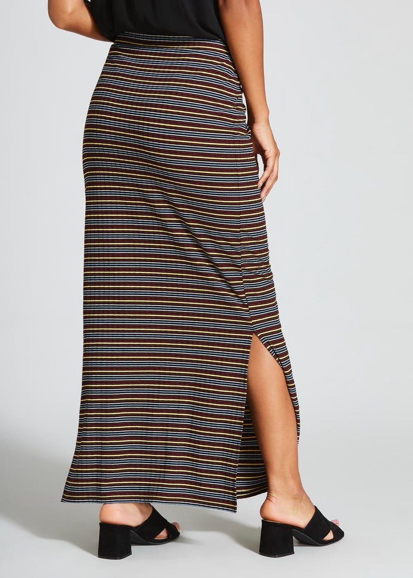 Stripe Split Hem Jersey Maxi Skirt