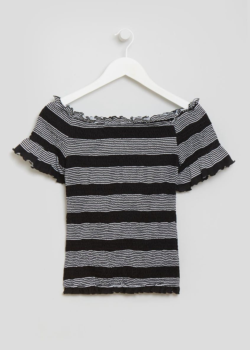 Stripe Shirred Bardot Top