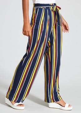 Stripe Tie Front Wide Leg Palazzo Trousers