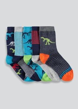 Boys 5 Pack Dinosaur Socks (Younger 6-Older 6.5)