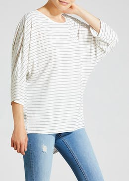 Stripe Curved Hem T-Shirt