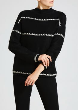 Contrast Stitch Stripe High Neck Jumper