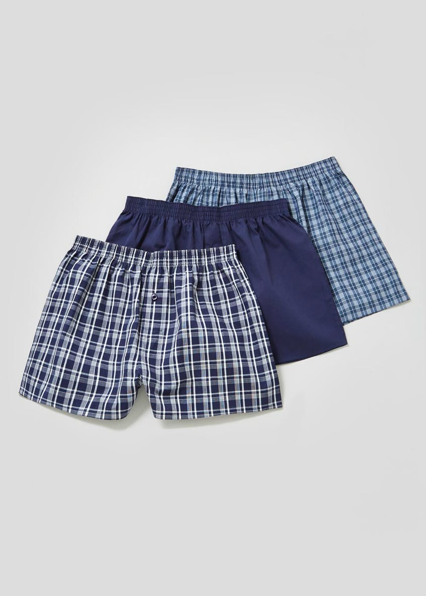 3 Pack Check Cotton Woven Boxers