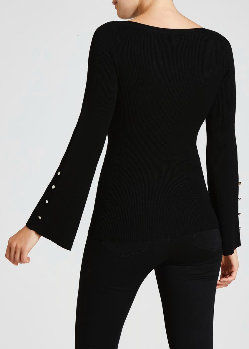 Button Bell Sleeve Boat Neck Jumper