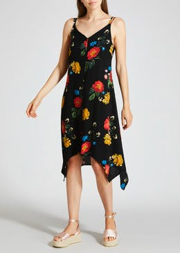 Button Front Floral Hanky Hem Dress