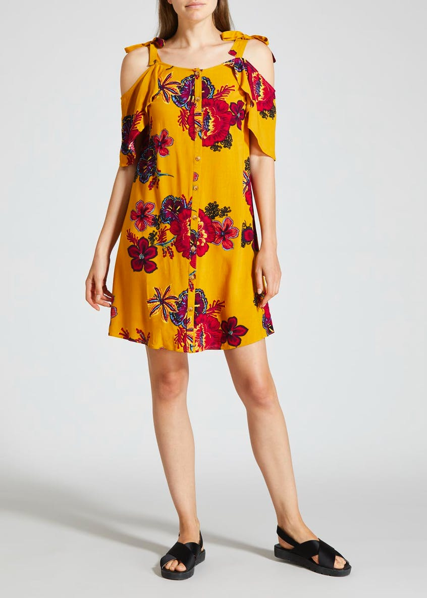 Floral Cold Shoulder Dress - Yellow