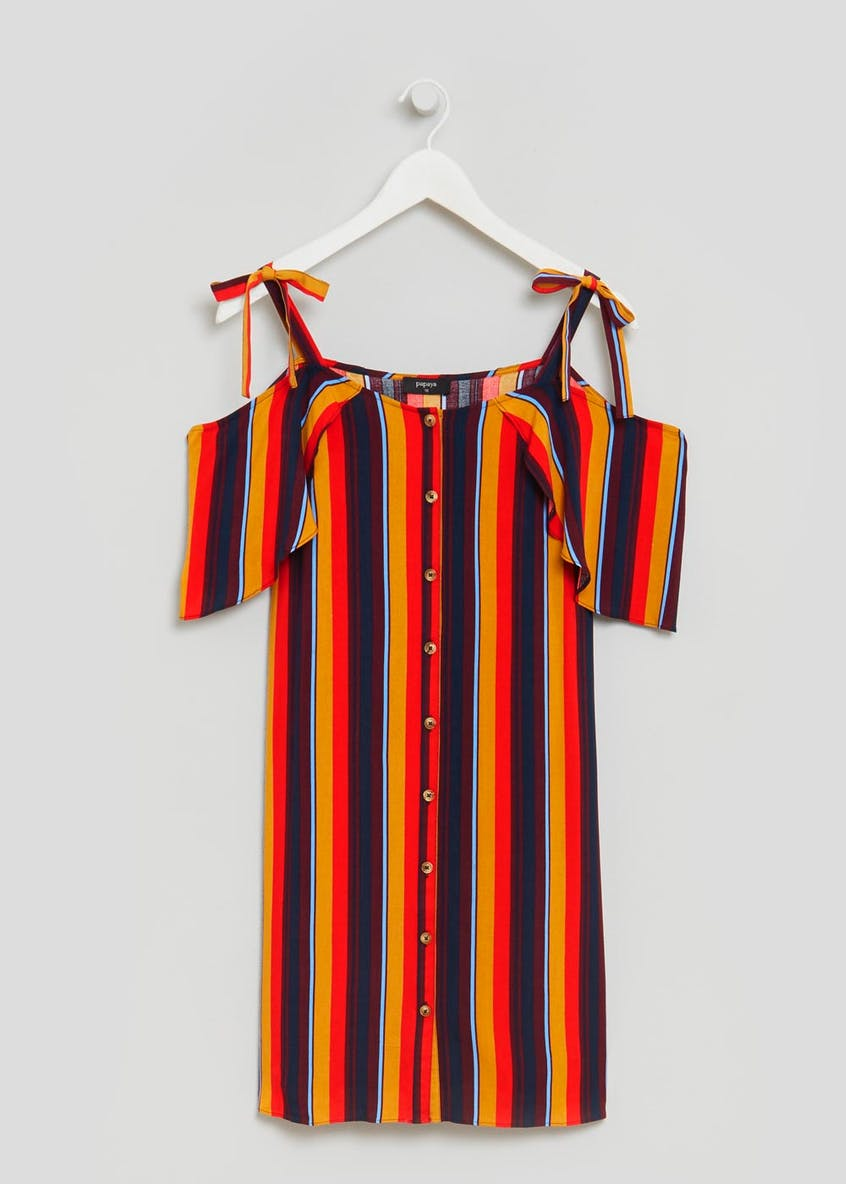 Stripe Tie Cold Shoulder Dress - Multi