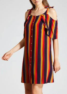 Stripe Tie Cold Shoulder Dress