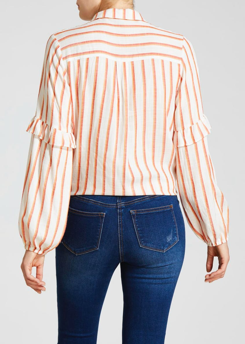 Stripe Frill Tie Front Shirt