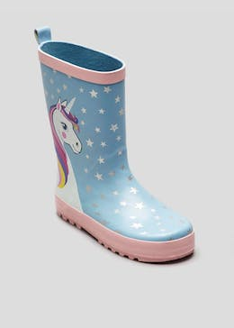 Girls Unicorn Rubber Wellies (Younger 4-9)