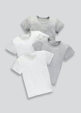Kids 4 Pack Short Sleeve Vests (2-13yrs)