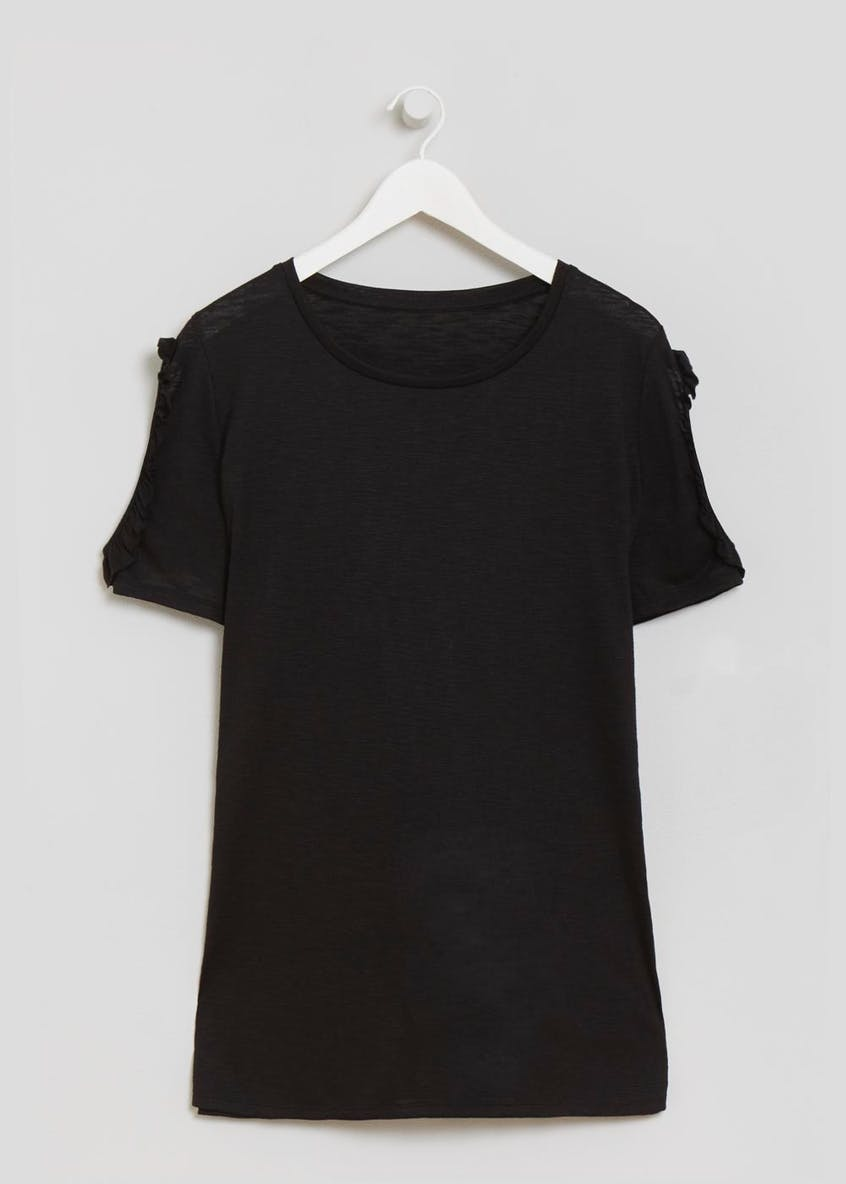 Papaya Curve Ruffle Cold Shoulder Longline T-Shirt
