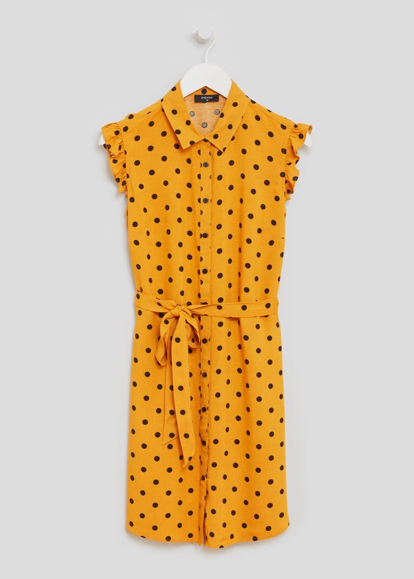 Polka Dot Frill Shirt Dress - Mustard