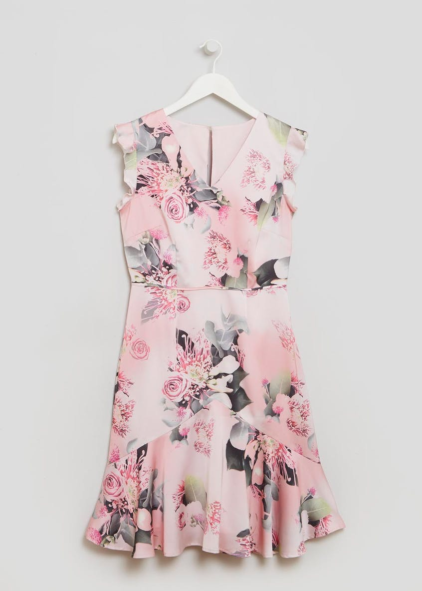FWM Floral Peplum Hem Tea Dress - Pink