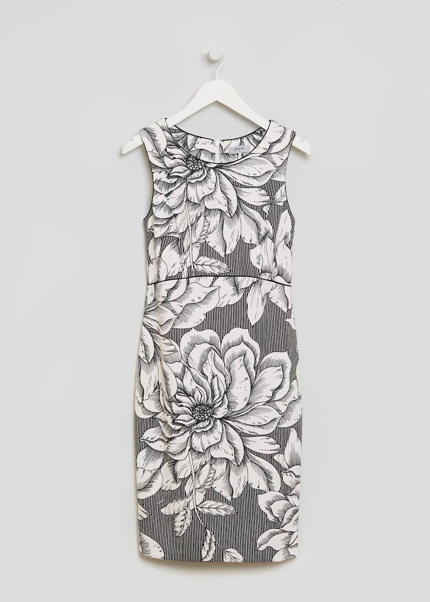 Soon Floral Piped Pencil Dress - Black