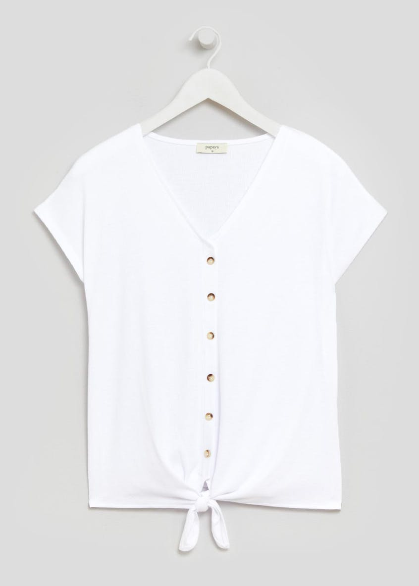 Ribbed Button Tie Front T-Shirt