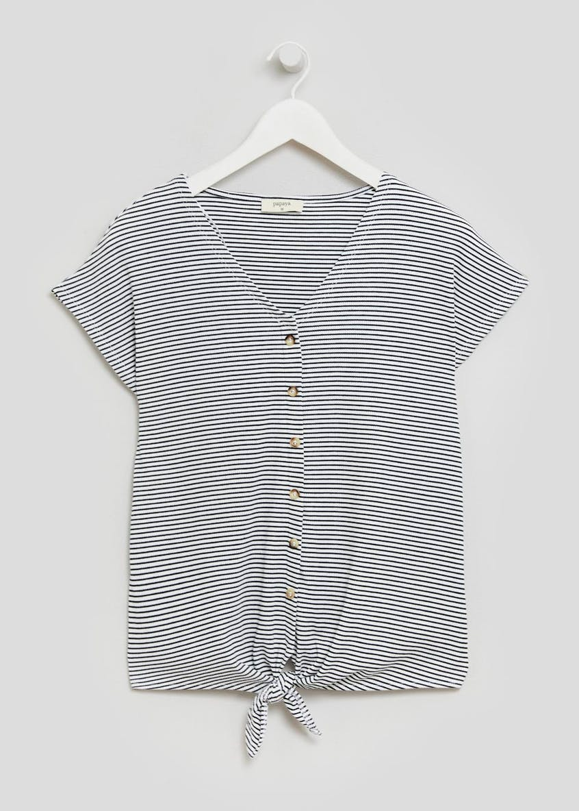 Stripe Ribbed Button Tie Front T-Shirt