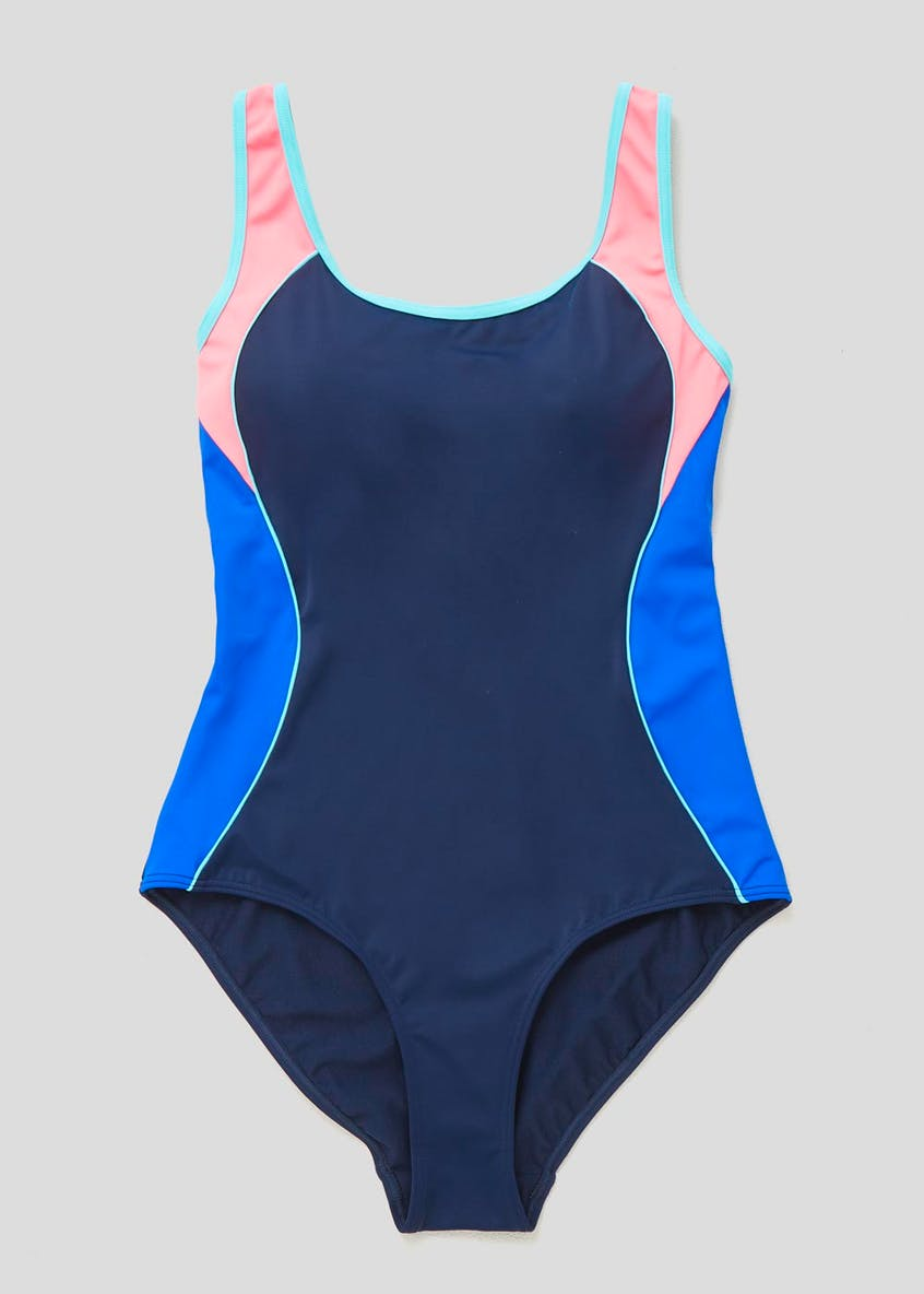 Colour Block Tummy Control Sports Swimsuit