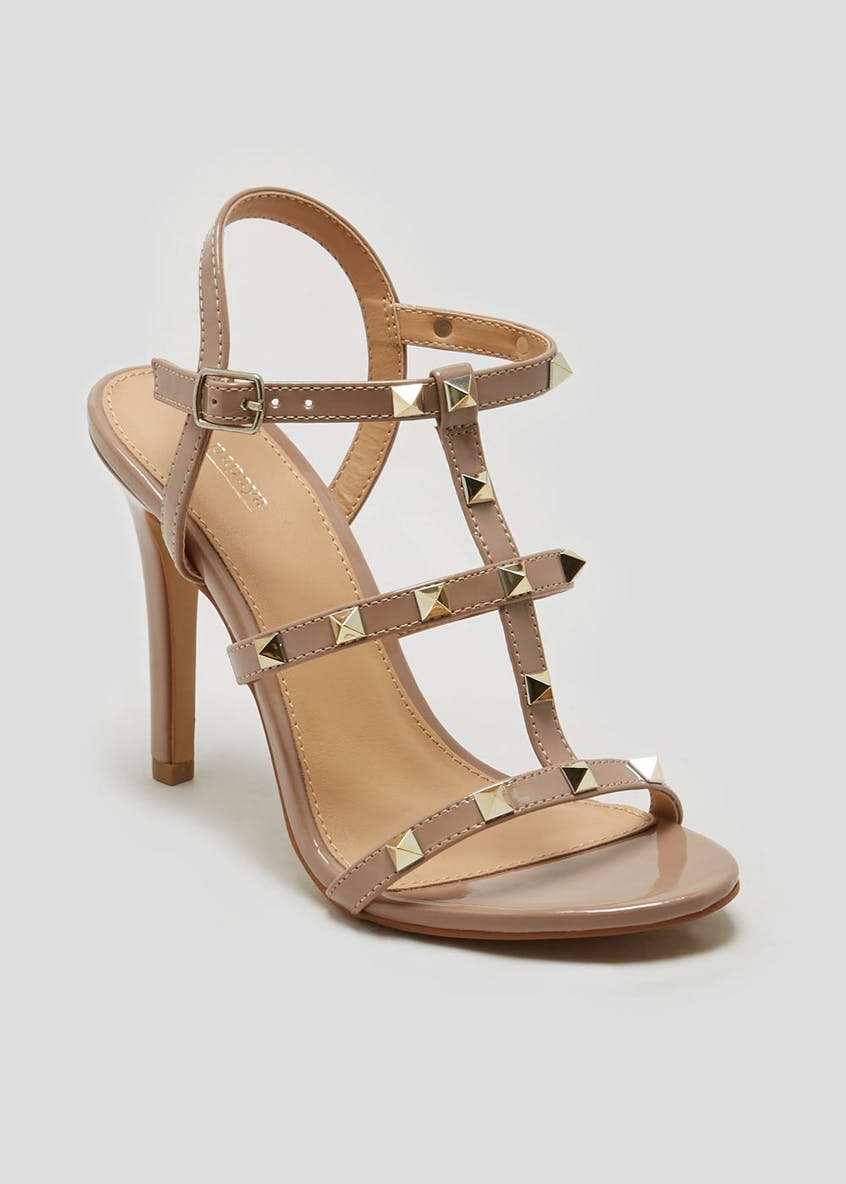 Patent Studded Cage Heels
