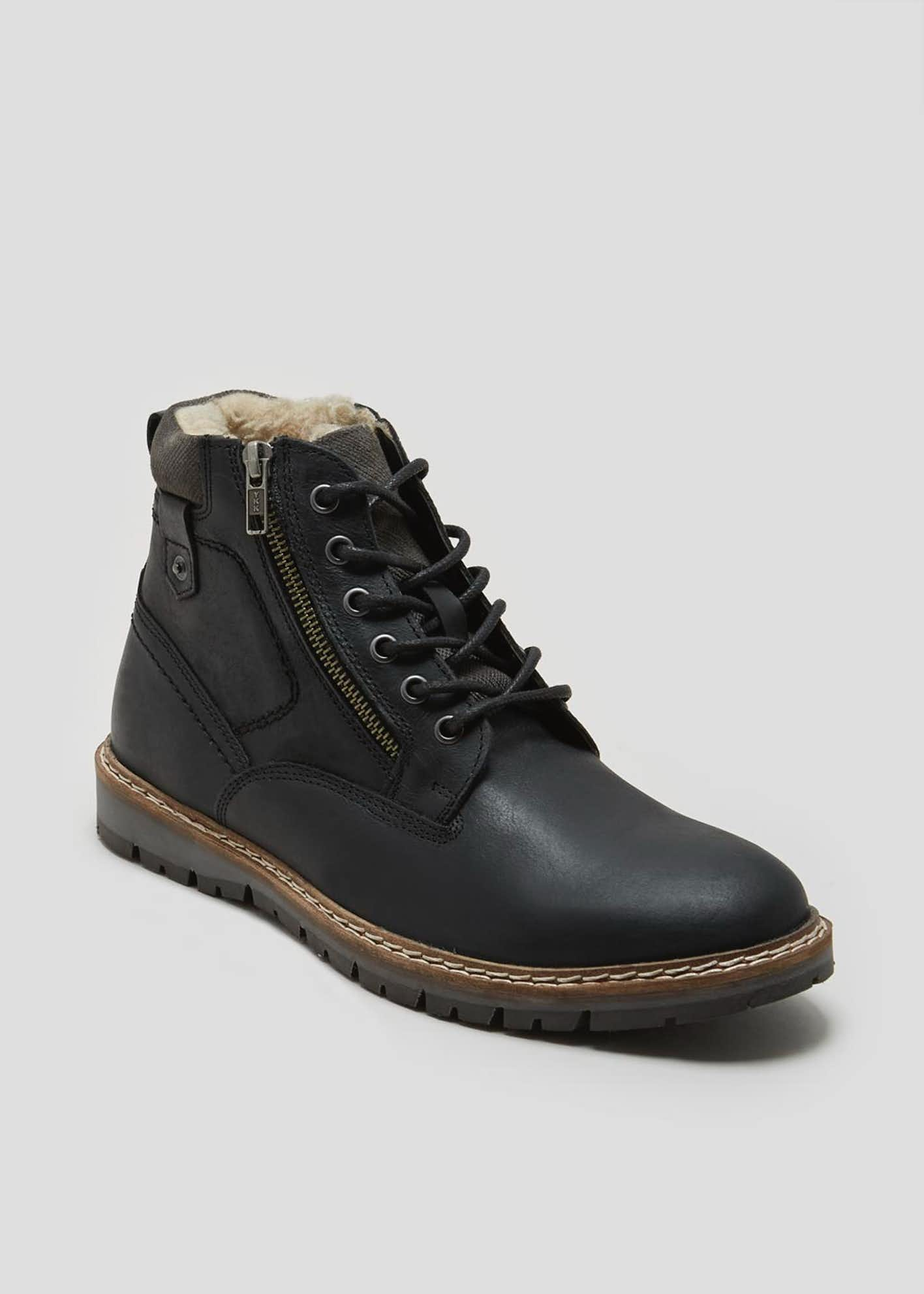 Real Leather Fur Lined Lace Up Boots