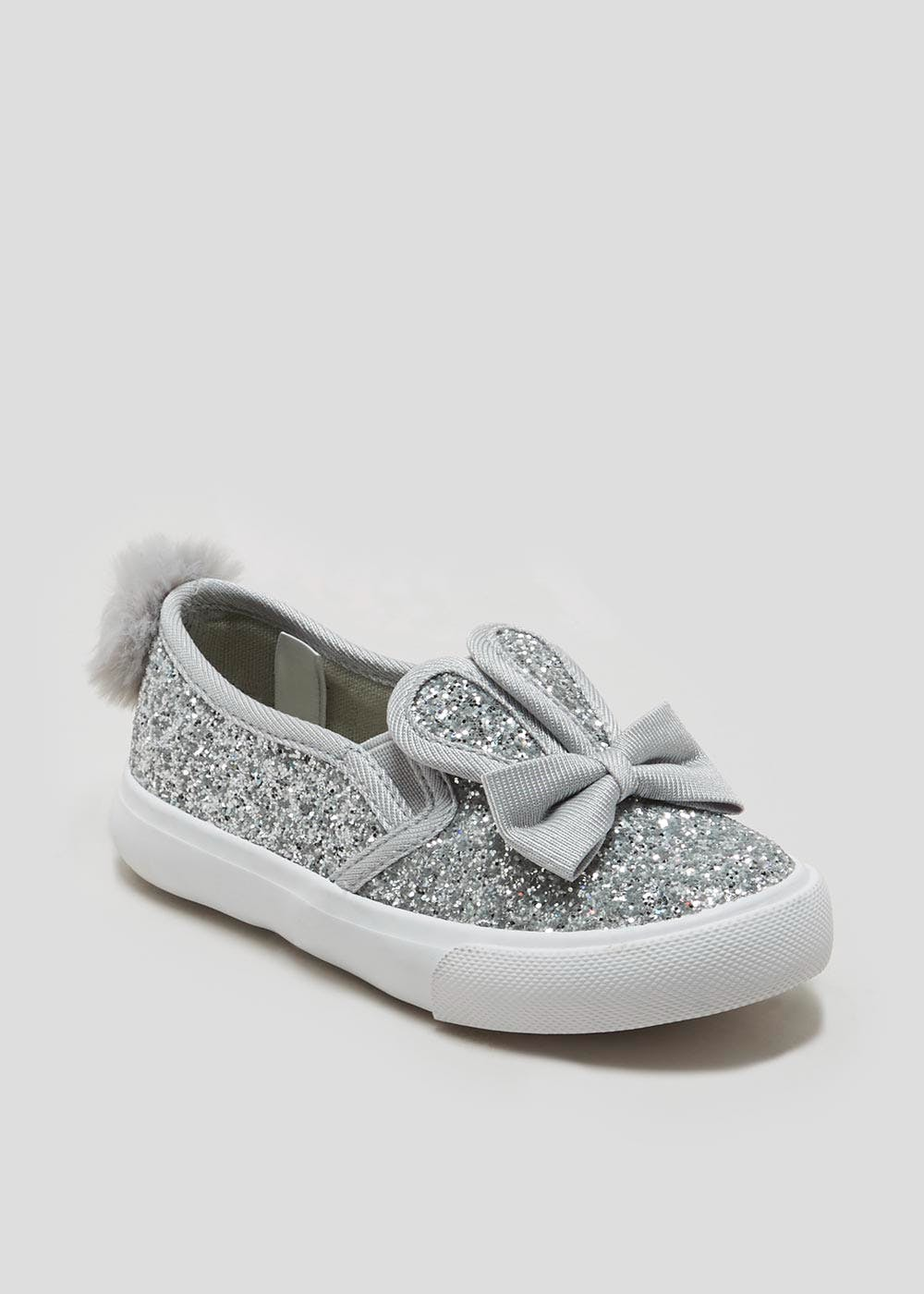 b07f2c6cebc7 Girls Glitter Bunny Slip On Pumps (Younger 4-12) – Silver – Matalan