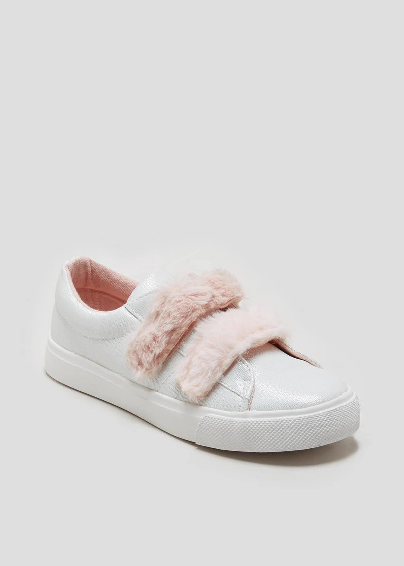 Girls Faux Fur Strap Canvas Pumps (Younger 10-Older 5)