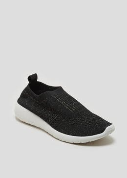 Knitted Glitter Slip On Trainers