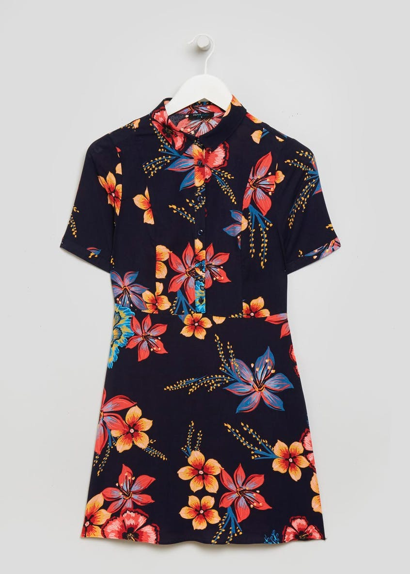Papaya Petite Floral Shirt Dress - Navy