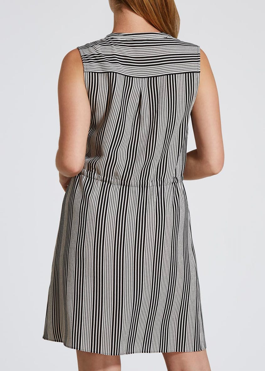 Papaya Petite Striped Sleeveless Dress - Black