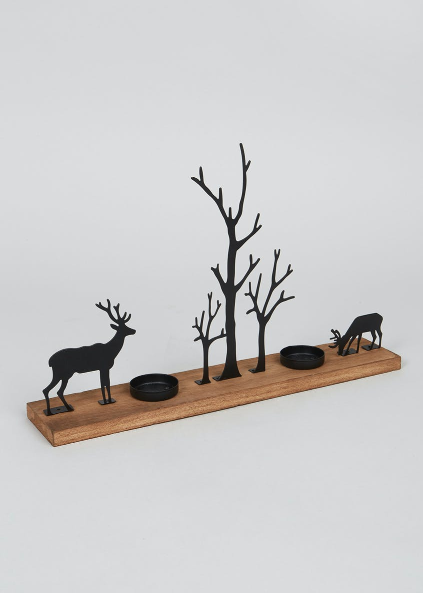 Stag Silhouette Tea Light Holder (30cm x 23cm x 7cm)