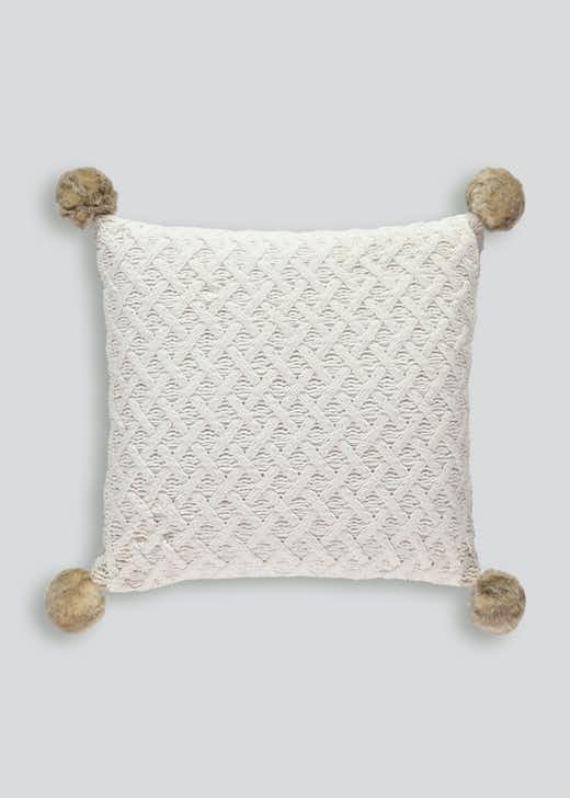 Knitted Chenille Pom Pom Cushion (48cm x 48cm)