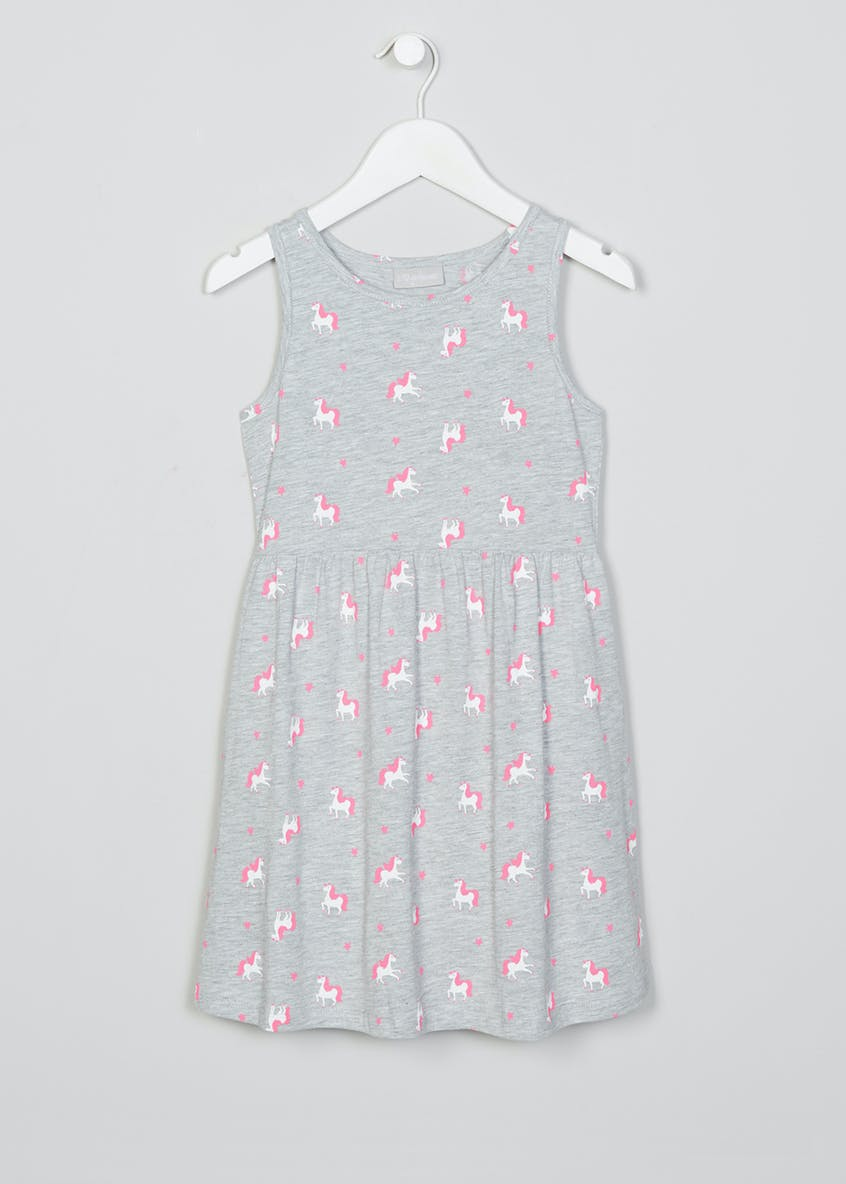 Girls Unicorn Jersey Dress (4-13yrs)