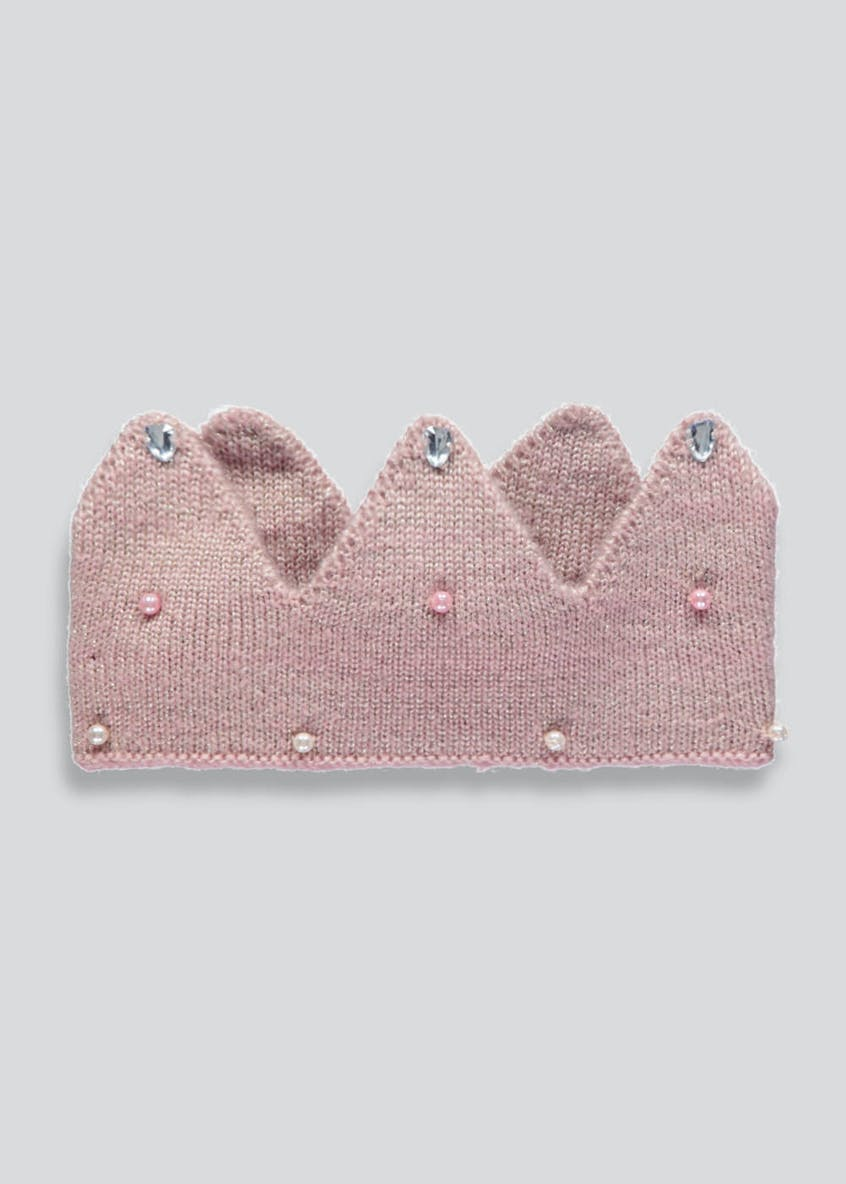 Girls Pearl Tiara Knitted Headband (One Size)
