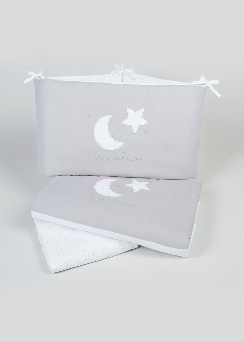 Unisex Moon & Star Applique Cot Bed Set (One Size)