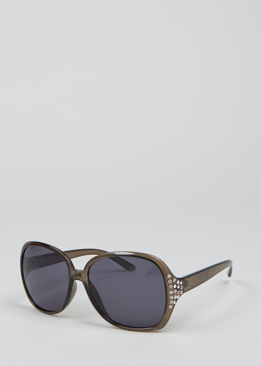 Large Wrap Around Diamante Sunglasses