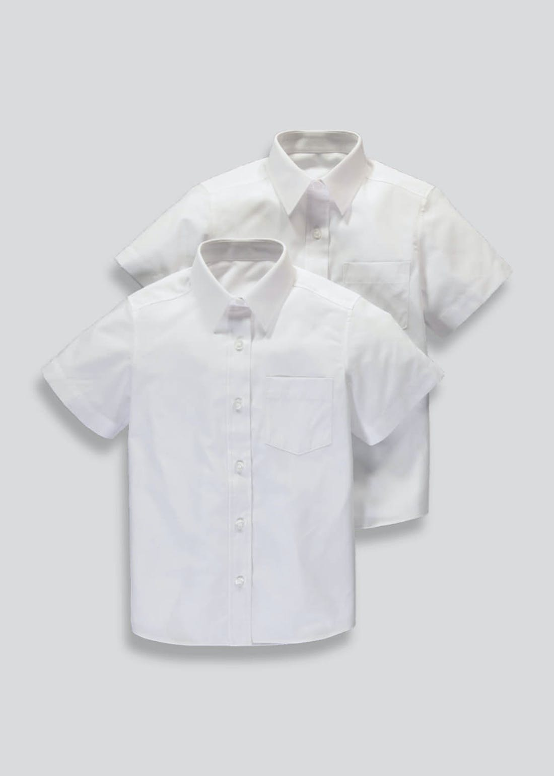 Girls White 2 Pack Generous Fit Short Sleeve School Blouses (6-16yrs)