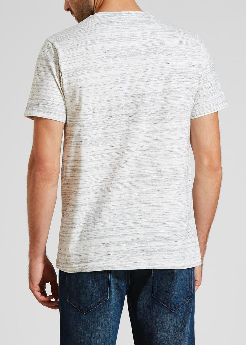 Fine Stripe Grandad Collar T-Shirt