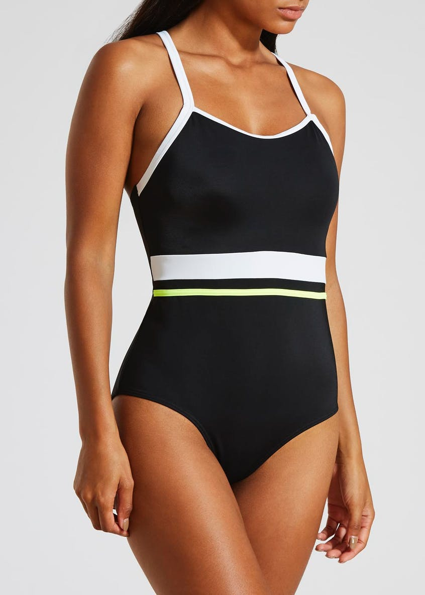 Contrast Tummy Control Sports Swimsuit