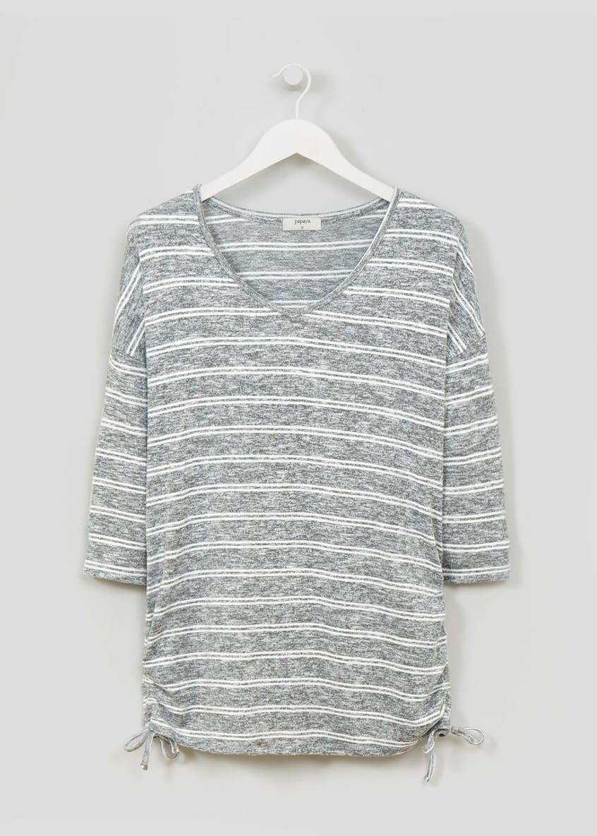Stripe Ruched Side T-Shirt