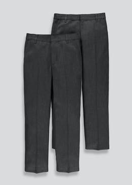 Boys 2 Pack Slim Fit School Trousers (3-13yrs)