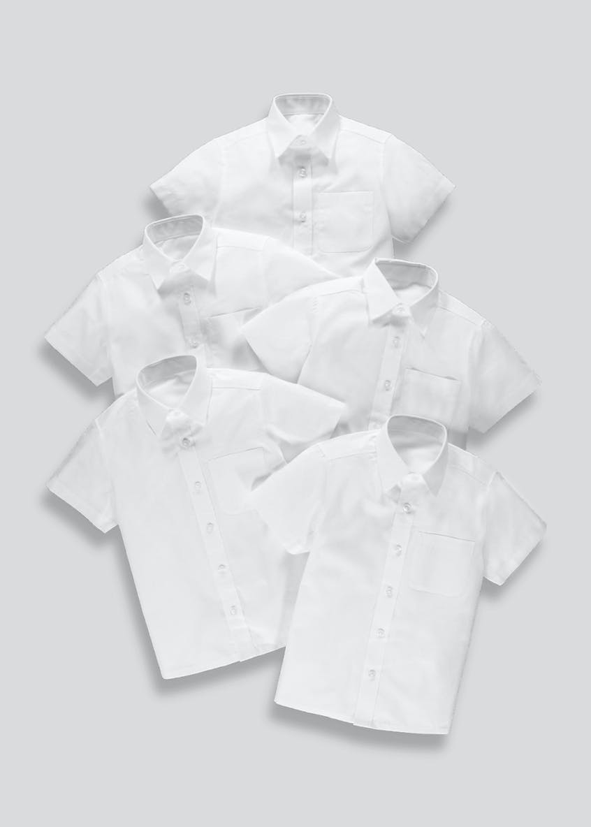 Boys 5 Pack Short Sleeve School Shirts (4-16yrs)