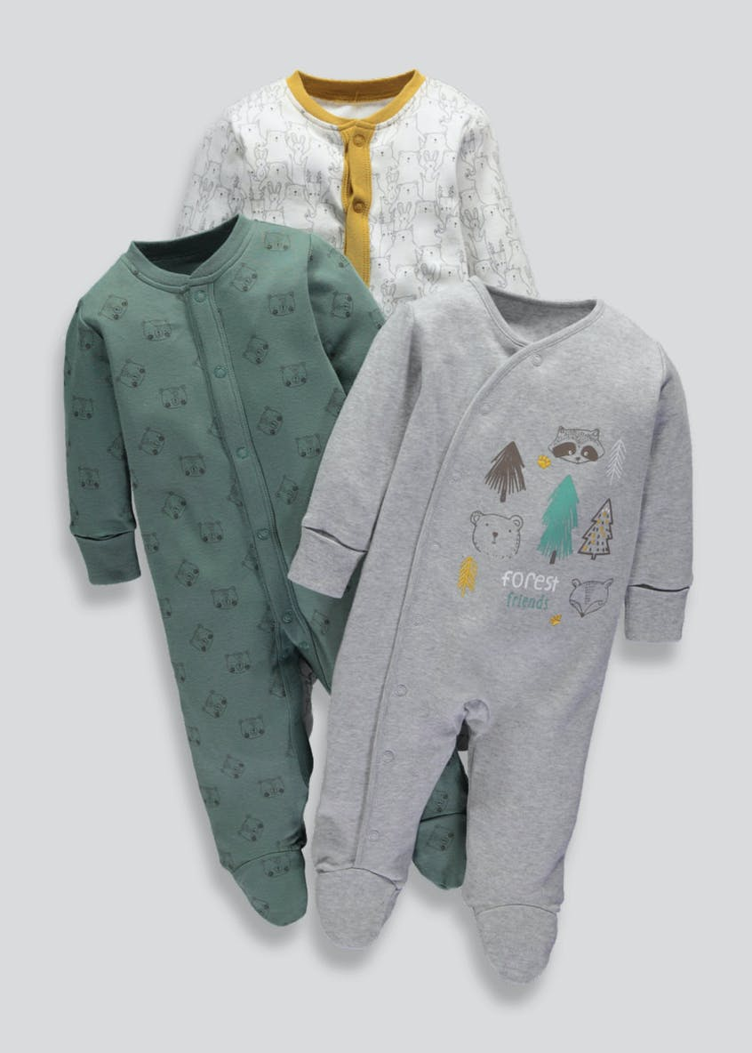 Unisex 3 Pack Woodland Sleepsuits (Tiny Baby-18mths)