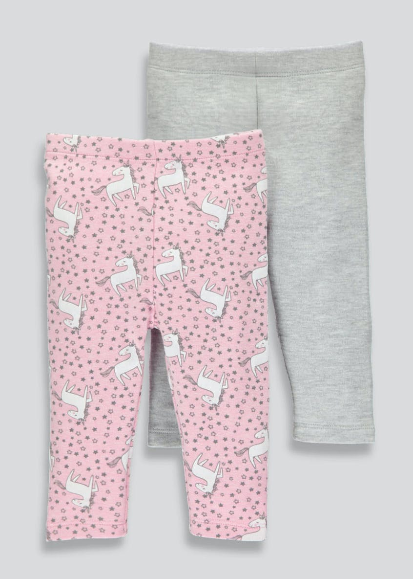 Girls 2 Pack Unicorn Leggings (Tiny Baby-18mths)