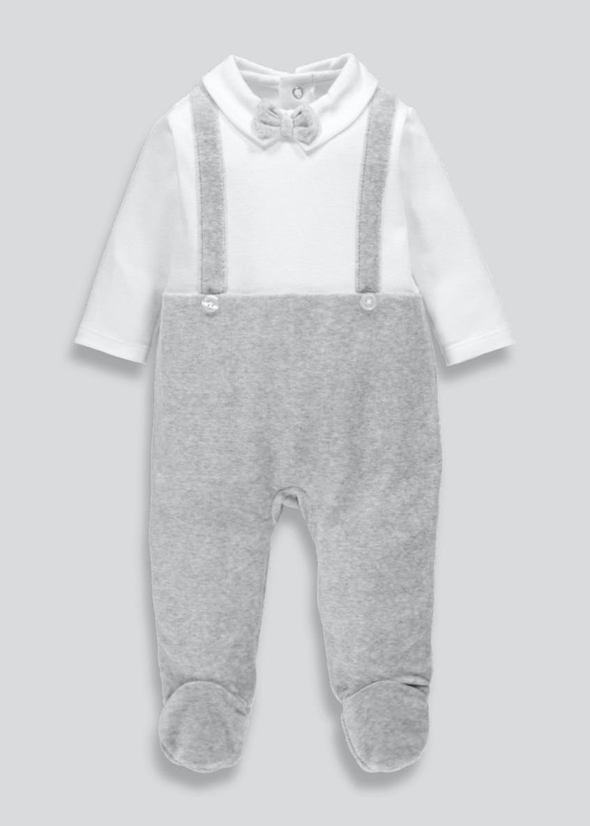 Unisex Bow & Braces Sleepsuit (Newborn-18mths)