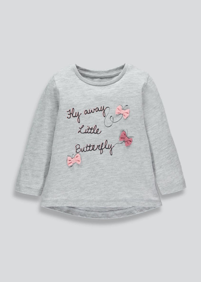 Girls Butterfly Slogan Long Sleeve T-Shirt (3mths-6yrs)